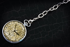 Antique pocket watch on a silver chain Royalty Free Stock Photography