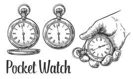 Antique pocket watch. Vector vintage engraved illustration. Antique pocket watch. Vector vintage engraving illustration Stock Image