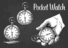 Antique pocket watch. Vector vintage engraved illustration. Antique pocket watch. Vector vintage engraving illustration Royalty Free Stock Photos