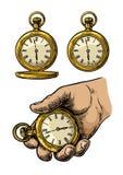 Antique pocket watch. Vector vintage engraved illustration. Stock Image