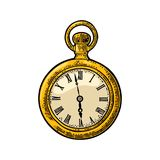 Antique pocket watch. Vector vintage engraved on white background. Stock Images