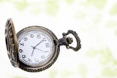 Antique pocket watch. On white background Royalty Free Stock Photos