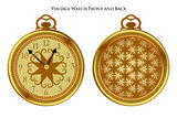 Antique pocketwatch front and back. Vintage  pocketwatch front and back views Royalty Free Stock Photography