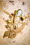 Antique polished brass sextant Royalty Free Stock Photo