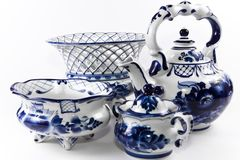 Antique porcelain, china set. Royalty Free Stock Photo
