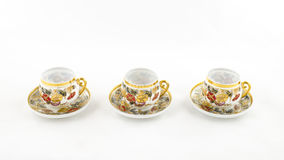 Antique porcelain coffee and tea cup on white Royalty Free Stock Photography