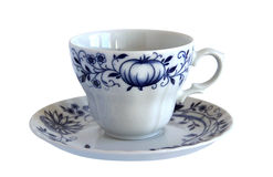Antique porcelain cup and saucer Stock Images