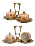 Antique porcelain set in modern style. Isolated image stock photography