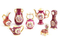 Antique Porcelain. Set on the white background Stock Photos