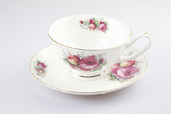 Antique porcelain tea cup on white background Royalty Free Stock Images