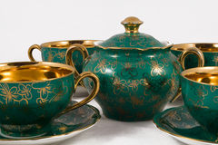 Antique porcelain tea set Royalty Free Stock Photo