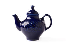 Antique porcelain teapot blue on white background Stock Photo