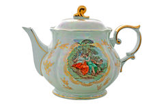 Porcelain teapot with gilding and painting Stock Photos