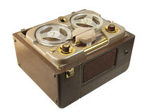 Antique portable reel to reel tube tape-recorder Stock Image