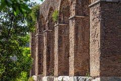 Antique portico in the Roman Forum. Stock Photo