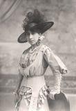 Antique Portrait of a Lady. Photography Studio. Vintage. 1900 Stock Photo