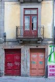 Antique Portuguese Architecture: Old Colorful Doors, Facade and. Writings - Portugal Stock Photo