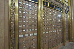 Antique Post Office Boxes 3. Antique Post Office Mail Boxes in Historic Building Angle Stock Photos