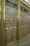 Antique Post Office Boxes 4. Antique Post Office Mail Boxes in Historic Building Vertical Stock Photo