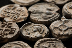 Antique post seals made of lead. Close-up shot, angle view Royalty Free Stock Images