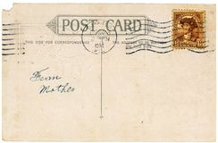 Antique Postcard. Vintage postcard with a stamp. Room to add your own message royalty free stock image