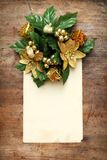 Antique postcard with christmas decorations Stock Photos