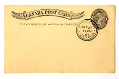 Antique Postcard Dated 1894. This pre-printed 19th century Canadian postcard includes a one cent Queen Victoria stamp.  Recipient's address has been removed for Royalty Free Stock Photos