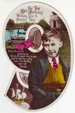 Antique postcard greeting card, 9 years old boy Royalty Free Stock Photo