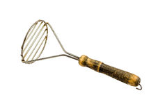 Antique Potato Masher. On A White Background royalty free stock images
