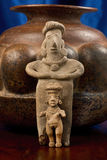 Antique Pre Columbian Female Figures. Pre Columbian Colima Mother and Daughter figures made around 200 BC to 200 AD Stock Photos
