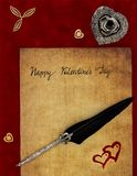 Hand written Happy Valentine`s Day vintage card with wooden shapes, quill stand and ornated quill - Love letter concept. Antique preachment with hand written royalty free stock photography