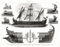 1874 Antique Print of Ancient Greek Trireme Warship. German Bilder Print of the Ancient Greek Trireme Warship with three rows of oars, and the earlier Bireme Royalty Free Stock Photography