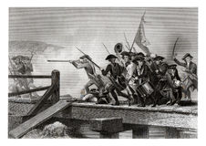 1860 Antique Print: The Battle of Concord Bridge, American Revolutionary War, April 1775. A scene of the Battle of Concord Bridge, one of the earliest battles of royalty free stock photography