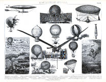 1874 Antique Print of Early Ballooning and Aeronautics Stock Photography