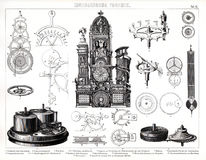 1874 Antique Print of Giant Clock at Munster Cathedral. 1874 Bilder Print of the Munster Cathedral Astronomical Clock in Germany with a breakdown of the Stock Photo