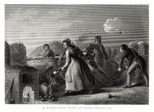 1860 Antique Print: A Soldier`s Wife at Fort Niagara, War of 1812 by T. Walker. Royalty Free Stock Photography