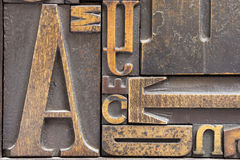 Antique printing block letters stock image
