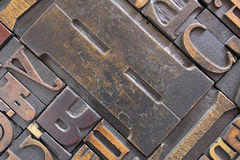 Antique printing block letters Stock Photos