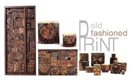 Antique Printing Blocks Stock Photography