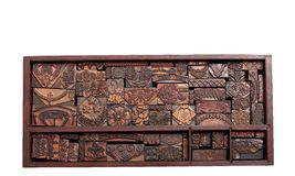 Antique Printing Blocks. A tray of antique copper letterpress cuts from Germany circa 1903-1953 stock images