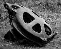 Antique pulley. Large antique pulley on ground royalty free stock photos