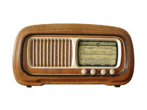 Antique radio. Very antique italian radio isolated on white Stock Images