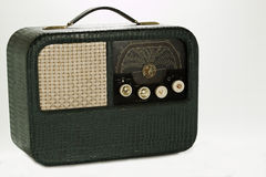An antique radio. Clad in crocodile skin stock images