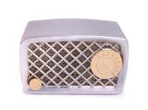 Antique Radio. A vintage chrome radio on a white background royalty free stock images