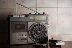 Antique radio with cassettes, Royalty Free Stock Images