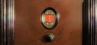 Antique Radio Dial. Close-up of an old radio dial and volume control Stock Images