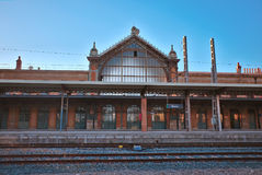 Antique Railroad station of Almeria. Andalusia. Modernist facade of the train station of Almeria. Spain Royalty Free Stock Image