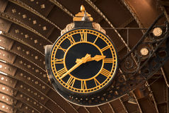 Antique Railway Station Clock Stock Photo
