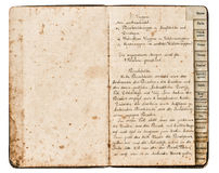 Antique recipe book with handwritten text Royalty Free Stock Photography