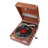 Antique record player. Isolated on a white background Royalty Free Stock Photo